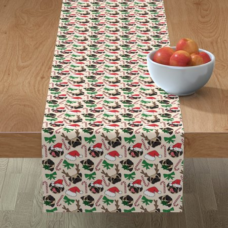 Image of Table Runner Pug Dogs Dog Pattern Christmas Pattern Pet Lovers Dog Cotton Sateen