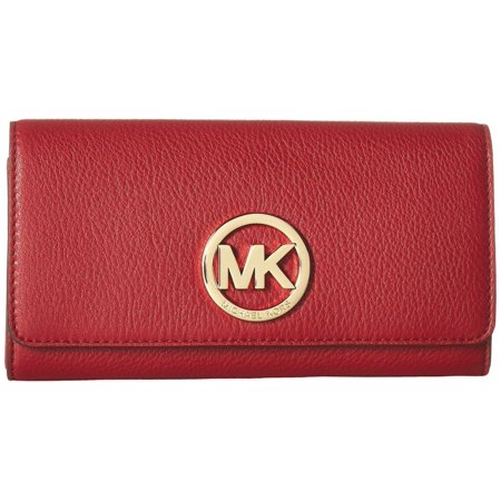 Fabric Continental Wallet - Michael Kors Fulton Flap Continental Soft Leather Wallet in Sienna $158.00