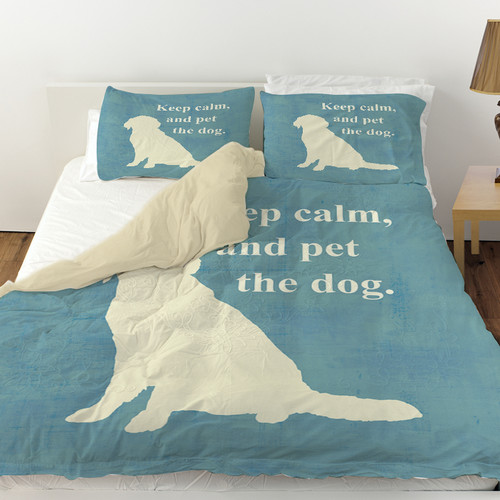 Manual Woodworkers & Weavers Keep Calm and Pet the Dog Duvet Cover