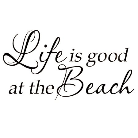 VWAQ Life Is Good At The Beach Wall Decal Inspirational Quote Home Decor Sticker - Surf Decor Ideas