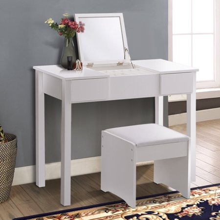 costway white vanity dressing table set mirrored bathroom furniture w stool storage box. Black Bedroom Furniture Sets. Home Design Ideas