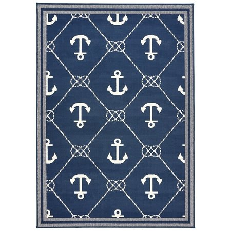 Flemish Master Weavers Navy Blue & Nautical White Anchor Area Rug - 5'3 x (Anchor Nautical Rug)