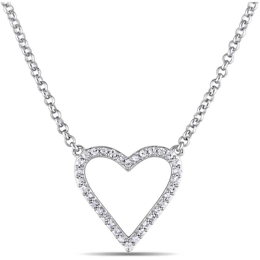 """Miabella 1 2 Carat T.G.W. White Sapphire Sterling Silver Heart Necklace, 16"""" by Miabella"""