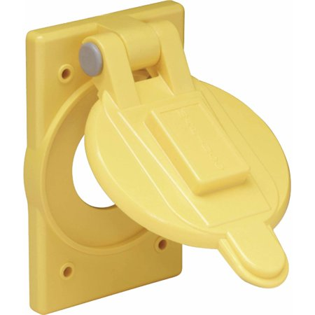 Marinco 7420CR Yellow Polycarbonate Weatherproof Cover Fits 15A, 20A and 30A Single Receptacles