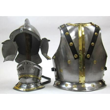 India Overseas Trading IR80867 Knight Bergonet Costume (helmet & chestplate) (Knight Helmets)