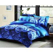 Swanson Beddings Blue Roses 3-Piece Duvet Bedding Set: Duvet Cover and Two Pillow Shams (King)