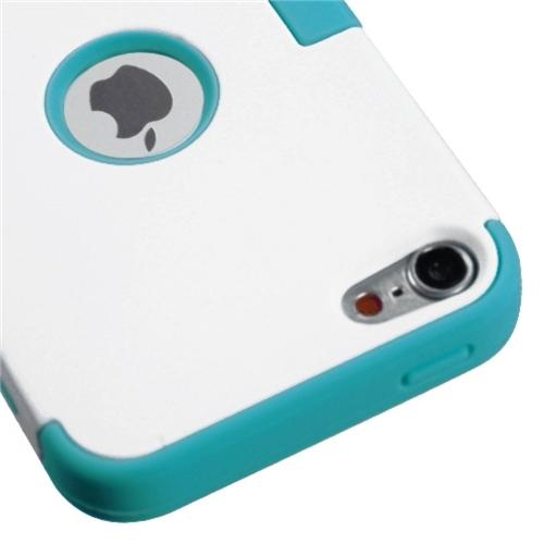 Insten Ivory White/Tropical Teal TUFF Hybrid Phone Case for APPLE: iPod touch (5th 6th Gen)