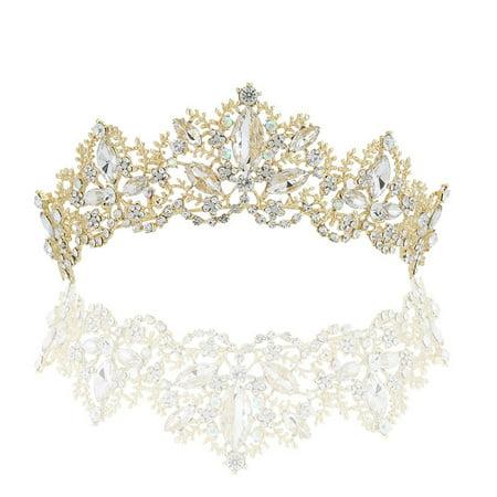 New Wedding Bridal Crystal Tiaras Princess Headband Women Girl Crown Hair Accessories](Gold Feather Headband)