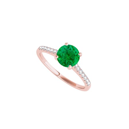 Prong Set Emerald Engagement Ring with Pretty CZ Rows - image 5 de 5