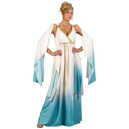 Hera Greek Goddess Costume (Adult Womens Greek Goddess Deity Cream/Light Blue Flowing Halloween)