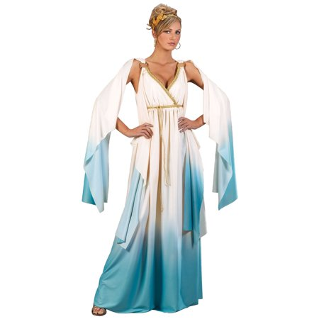 Adult Womens Greek Goddess Deity Cream/Light Blue Flowing Halloween Costume