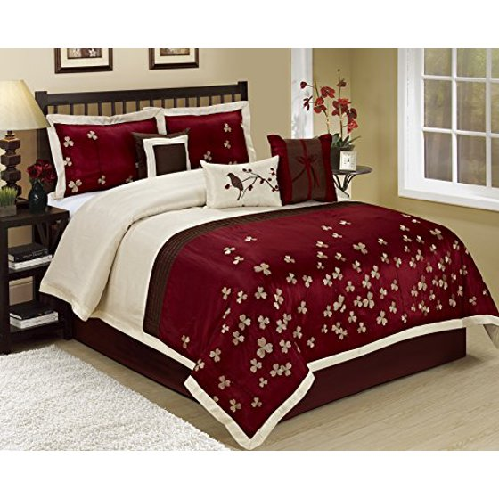 7 Piece Vienna Embroideried Clearance Bedding Comforter Set Fade Resistant Wrinkle Free No