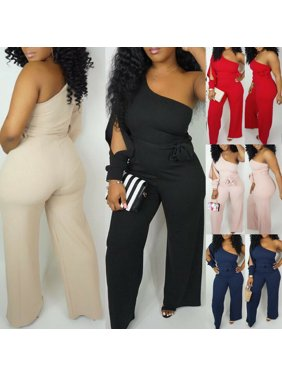 Pudcoco Women One Shoulder Casual Club Party Summer Wide Legs Jumpsuit Romper Long Pants