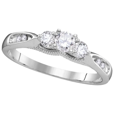 Size - 7 - Solid 10k White Gold Round White Diamond Engagement Ring OR Fashion Band Prong Set 3 Stone Shaped Past, Present and Future Ring (.38 cttw)