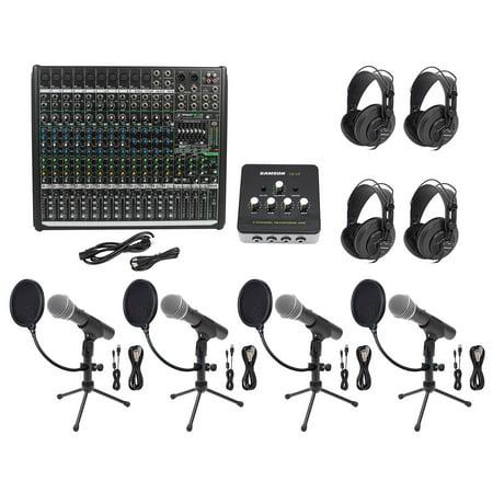 Podcast Studio Bundle w/Mackie 16-Ch Mixer+(4) Mics+Stands+(4) Samson