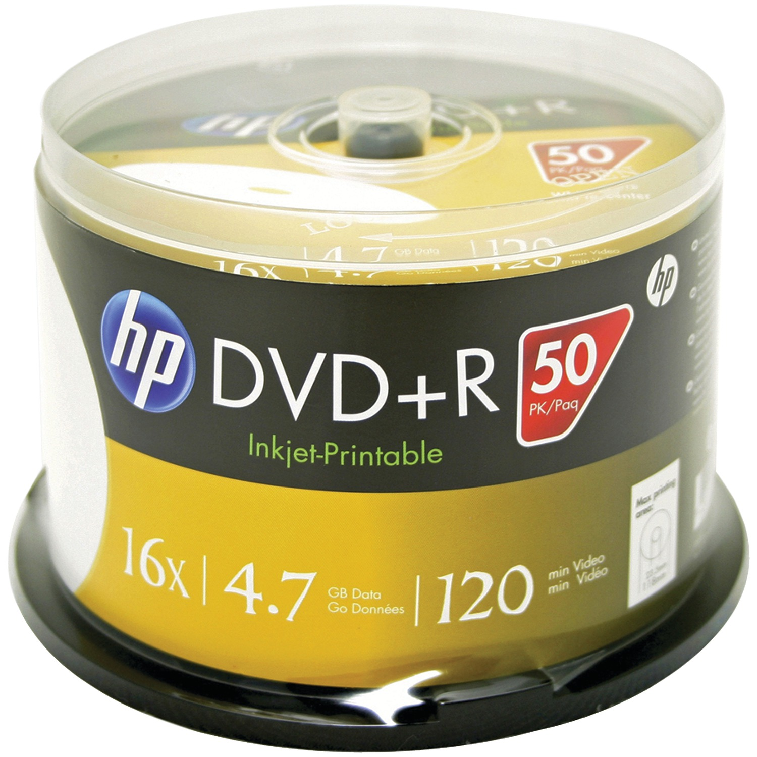 HP DR16WJH050CB 4.7GB Printable DVD+Rs, 50-ct Spindle