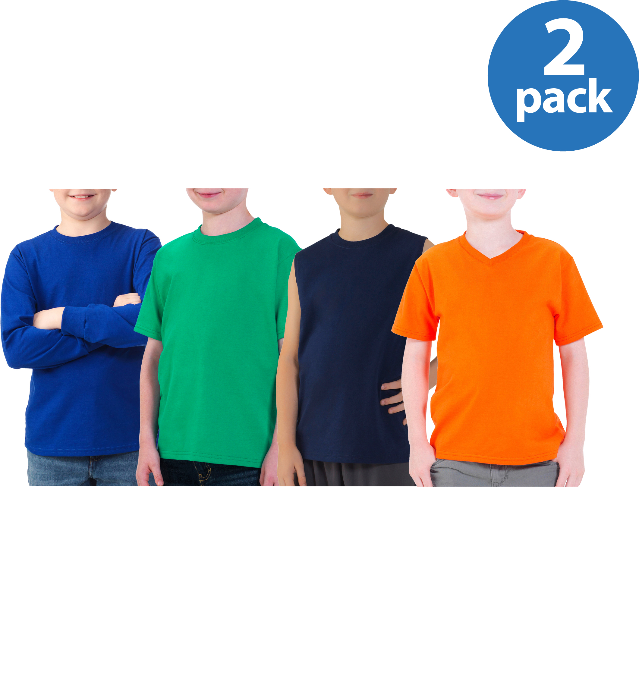 Fruit of the Loom Boys' Variety Shirts, Your Choice 2 Pack Value Bundle