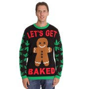 #followme Mens Ugly Christmas Sweater - Sweaters for Men 6774-317-XXXL (Black - Get Baked, XXX-Large)