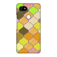 Google Pixel 2 XL Case - Stained glass- Chocolate orange, Hard Plastic Back Cover, Slim Profile Cute Printed Designer Snap on Case with Screen Cleaning Kit