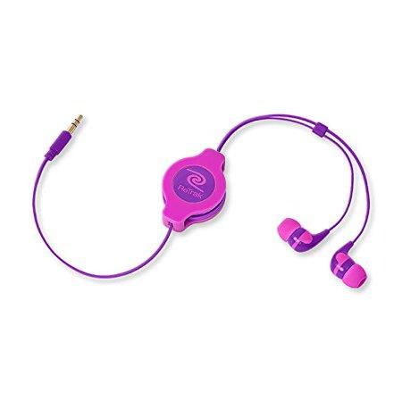 Neon Earbud Headphones - Emerge ETAUDNPKRL Retractable Earbuds, Neon Pink and Purple