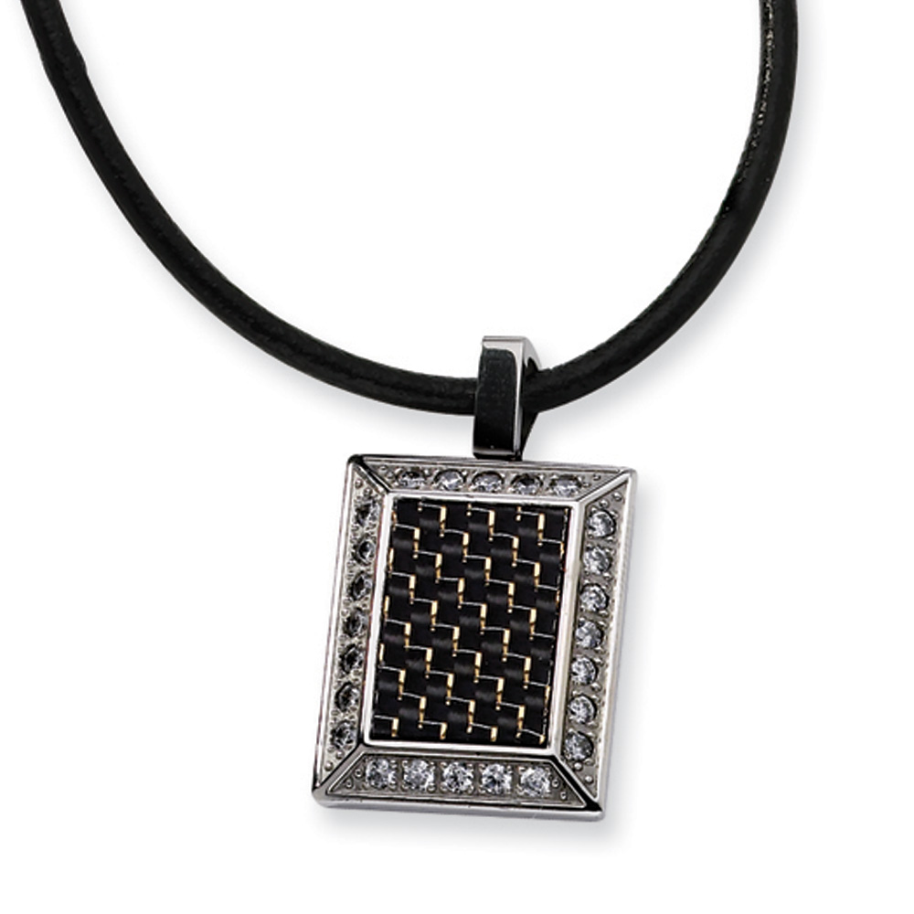 Stainless Steel and Black Carbon Fiber Necklace with Cubic Zirconia
