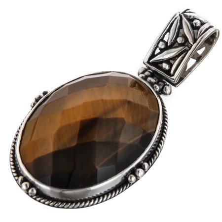 Oval Checkerboard Tiger Eye Handmade 925 Sterling Silver Pendant, 1 -