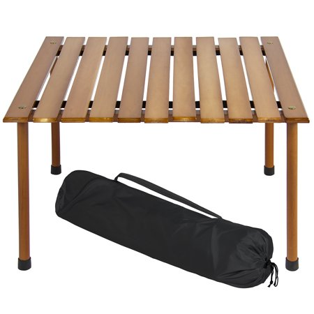 Best Choice Products 28x28in Foldable Outdoor/Indoor All-Purpose Wooden Table for Picnics, Camping, Beach, Patio w/ Carrying Case