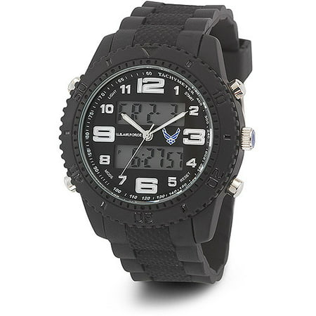 Black Rubber Watch - Men's U.S. Air Force C27 Black and White Dial Watch, Black Rubber Strap