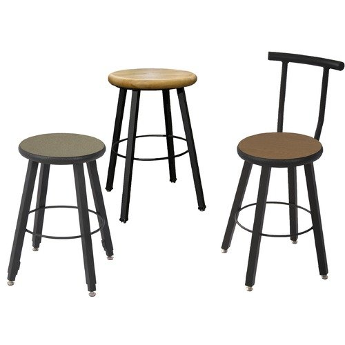WB Manufacturing Quick Ship Fixed Height Square Tube Hardwood Seat Backrest Stool