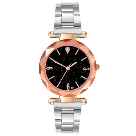 Woman Steel Metal Silver Color Band Goldtone Case Black Sparkle Dial Evening Dress Watch, W-29-S