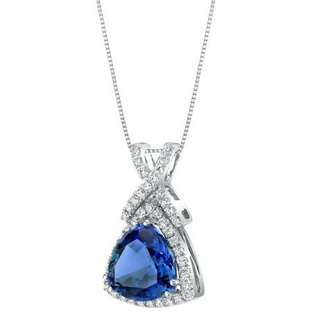 Trillion Lab (14K White Gold Created Sapphire and Lab Grown Diamond Pendant 6.77 carats total Trillion Cut)