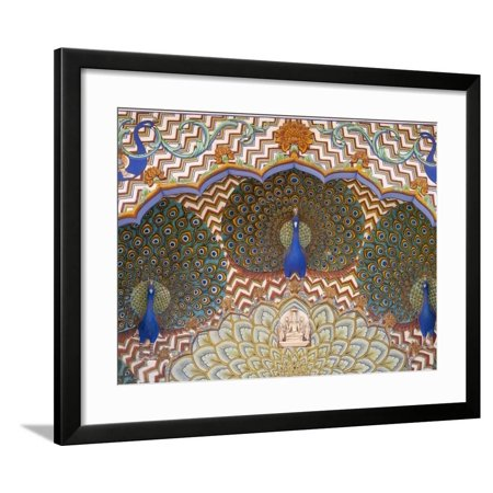 Painting And Interior Decoration In City Palace Jaipur Rajasthan India Framed Print Wall Art By Keren Su