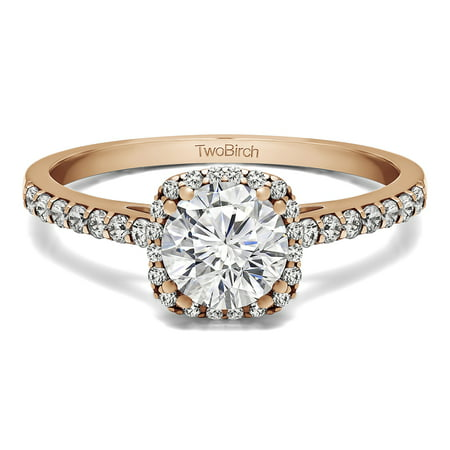 TwoBirch Traditional Halo Engagement Ring with Diamonds and Moissanite Center In 14k Gold (1.31 CT)