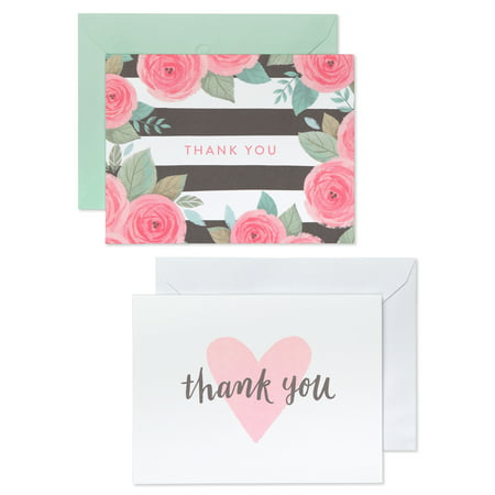 American Greetings 50 Count Thank You Cards and White Envelopes, Pink, Black and White Floral and Hearts](Cheap Wedding Thank You Cards)