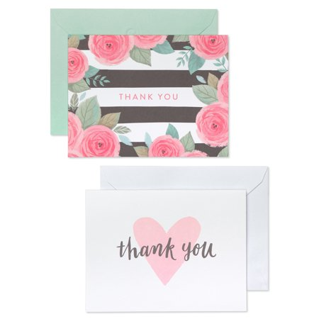 Buddha Greeting Cards - American Greetings 50 Count Thank You Cards and White Envelopes, Pink, Black and White Floral and Hearts