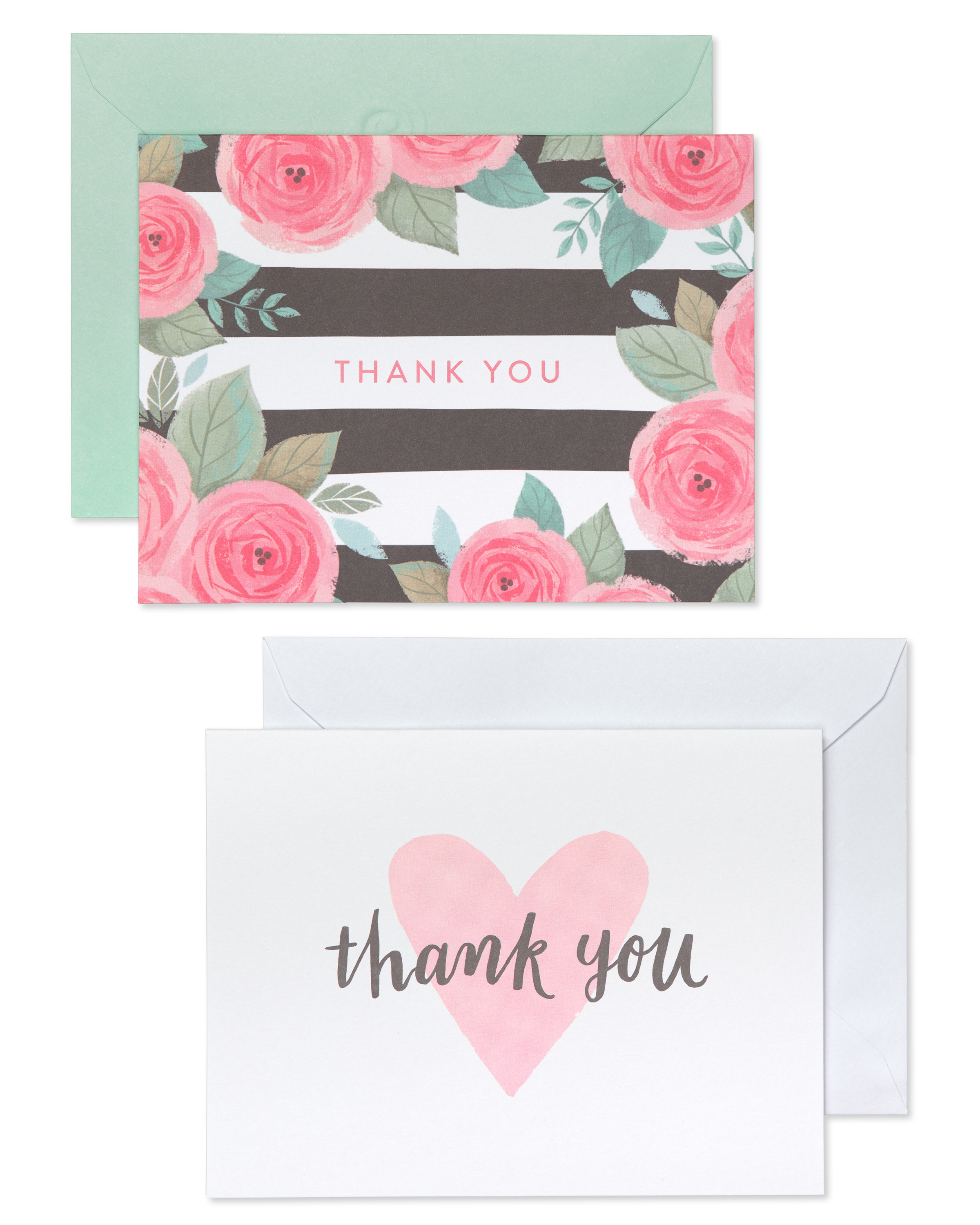 Pink Thank you A6 card blank inside