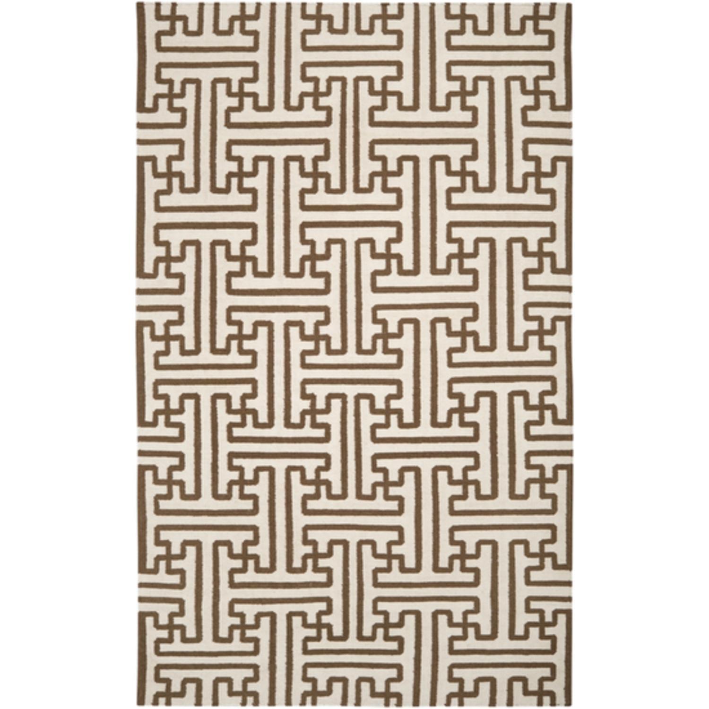 3.5' x 5.5' Block Pillars Winter White and Brown Wool Area Throw Rug