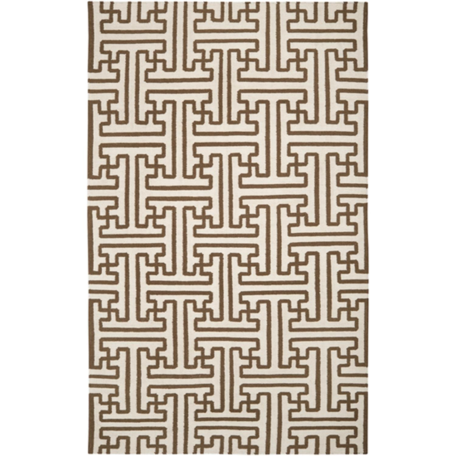 5' x 8' Block Pillars Winter White and Brown Wool Area Throw Rug