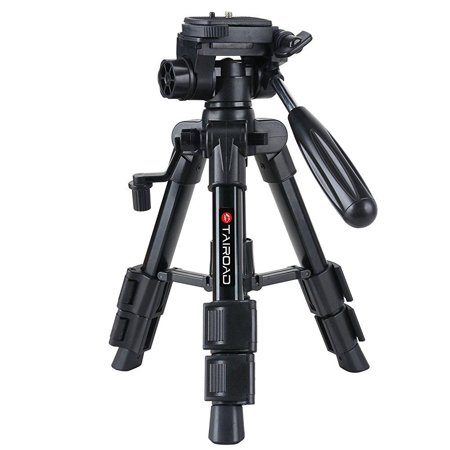 tairoad t-111 lightweight mini tabletop tripod stand with pan tilt head and flip lock compatible with compact system cameras smartphone projector (black)