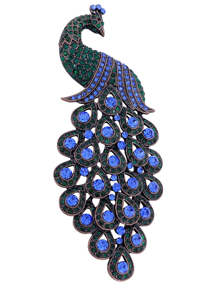 Large Multicolor Emerald Green & Blue Sapphire Crystal Peacock Brooch Pin by