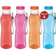 MILTON Sports Water Bottle Kids Reusable Leakproof 25 Oz 4-Pack Plastic Wide Mouth Large Big Drink Bottle BPA & Leak Free with Handle Strap Carrier for Cycling Camping Hiking Gym Yoga Fitness