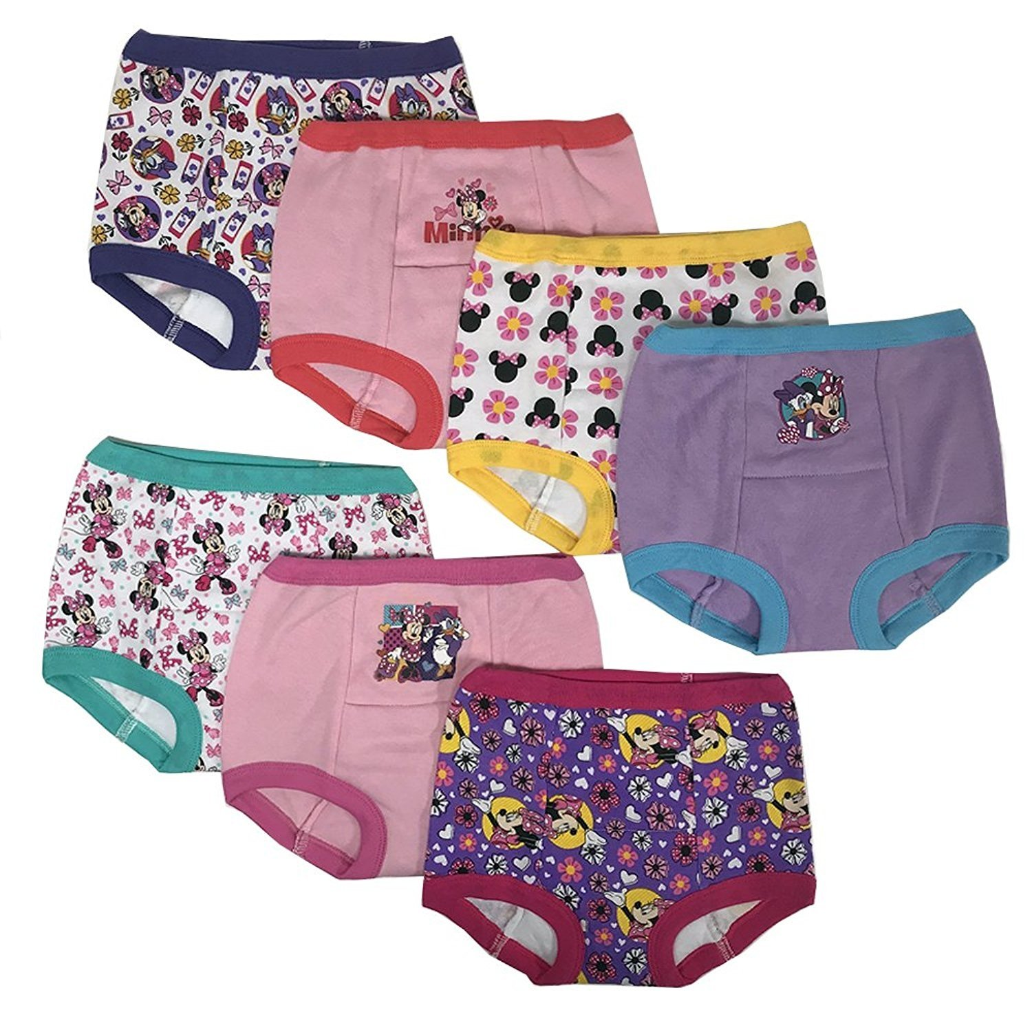 Handcraft Disney Minnie Mouse Girls Potty Training Pants Panties Underwear Toddler 7-Pack Size 2T 3T 4T