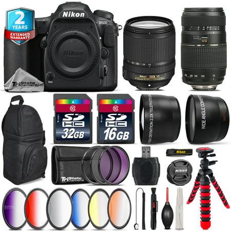 Nikon D500 DSLR Camera + AFS 18-140mm VR + Tamron 70-300mm + Backpack - 48GB