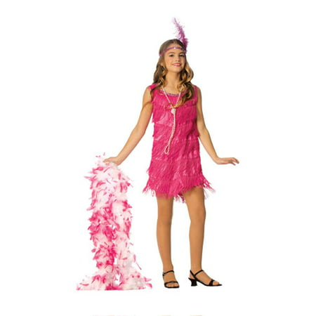 Hot Pink Girls Flapper Halloween Costume - Pink Flapper Costume