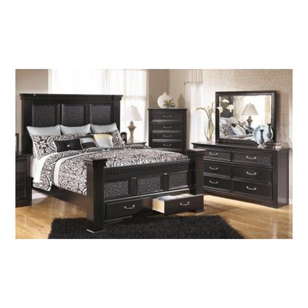 piece bedroom set with king size mansion poster bed dresser mirror and