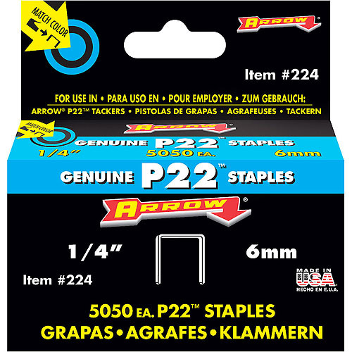 "Arrow Fastener 1/4"" P22 Staples"