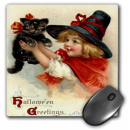 3dRose Halloween Greetings - cat, cute, girl, costume, halloween, trick or treat, witch, Mouse Pad, 8 by 8 inches