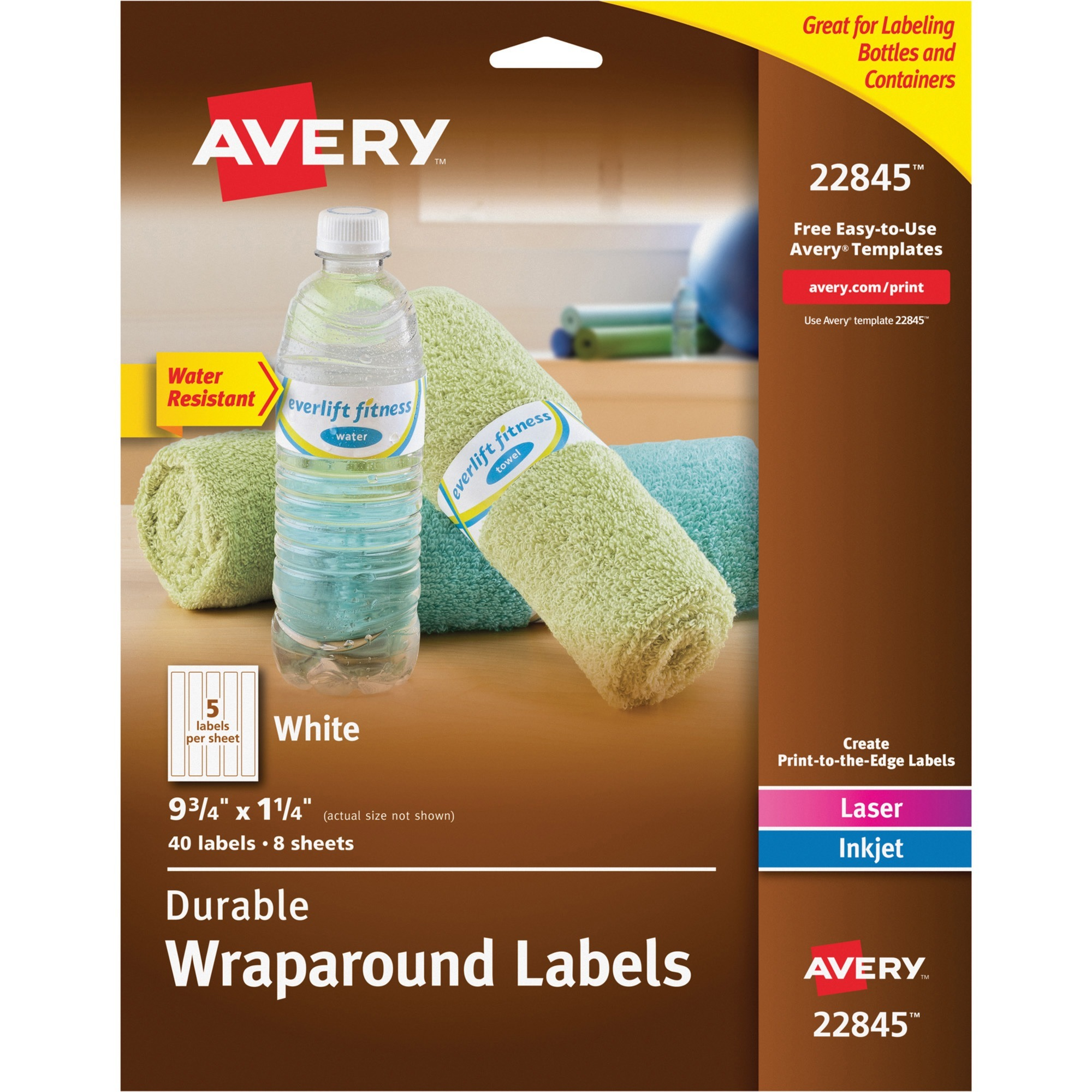 "Avery(R) Durable Water-Resistant White Wraparound Labels 22845, 9-3/4"" x 1-1/4"", Pack of 40"