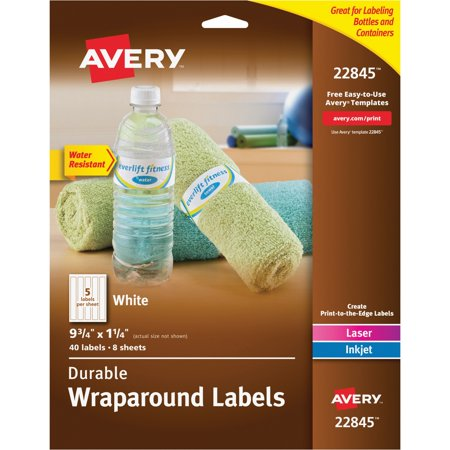 Avery(R) Durable Water-Resistant White Wraparound Labels, 9-3/4 x 1-1/4, Pack of 40 (22845) (Printable Halloween Treat Labels)