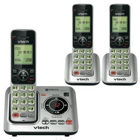 VTech Cordless Handset Phone, CS6629-3, DECT 6.0, 3 Handsets, Silver/Black [Non - Retail